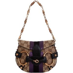 GUCCI Monogram Web Horsebit Flap Clutch